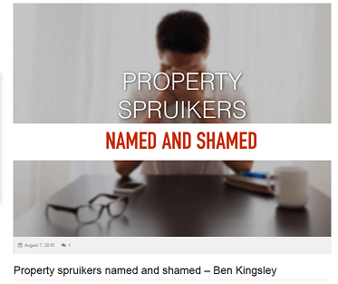 Property Spruikers Named and Shamed