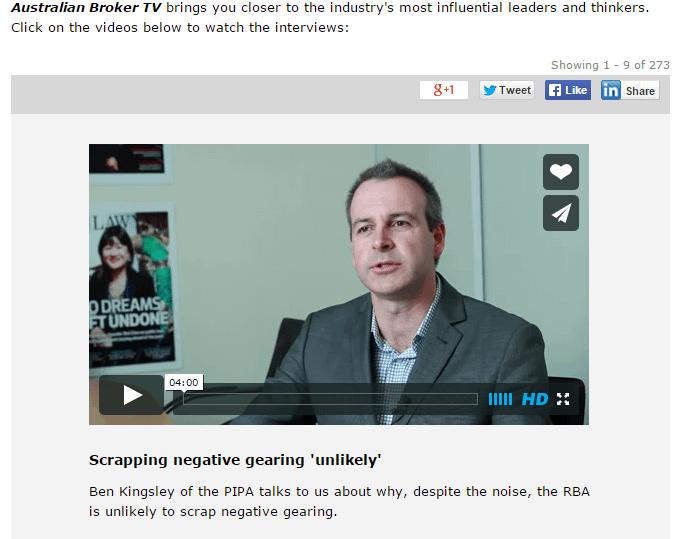 Australian Broker Online negative gearing video